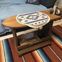 ソファーテーブル/西海岸インテリア/西海岸スタイル/DIY/収納/ハンドメイド/... サーフボート型のソファーテーブルをDIY…