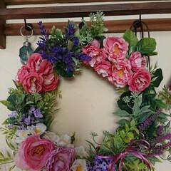 造花インテリア/造花リース/造花アレンジ/お花/リース作り/リース/... リース教室で作りました🌹