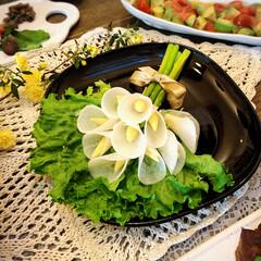 花束/マリネ/バルサミコ/チーズ/アリゴ/ジュレ/... 私のお友達をパパがご招待して、 わが家で…