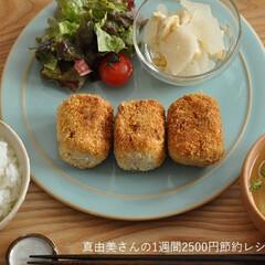 節約/簡単/ワンプレート/定食スタイル/おうちごはん/おかず おからコロッケ定食♪ 定食スタイルです。…