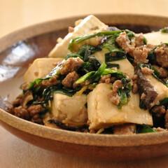 簡単/おかず/節約/おうちごはん/しいたけ/ひき肉/... 【ニラたっぷり!豆腐とひき肉の甘みそ炒め…