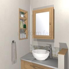造作洗面台/洗面所/ニッチ/収納/リフォーム 造作洗面台&ニッチ収納のイメージをつくり…