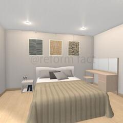 リフォーム/寝室/ピクチャーレール 寝室にピクチャーレールを取付したイメージ…
