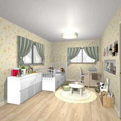 子供部屋/アクセントクロス/リフォーム 女の子の子供部屋をイメージしてつくりまし…