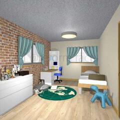 子供部屋/リフォーム/アクセントクロス 男の子の子供部屋をイメージしました('ω…