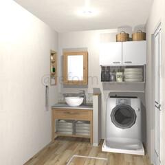 洗面所/リフォーム/収納 洗面所の収納、イメージをつくりました!