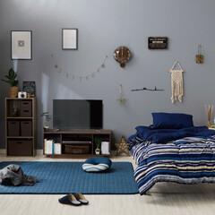 新生活/DCMブランド/ラグ/寝具3点セット/ネービーインテリア/カーテンセット DCMで作る、新しい春のコーディネート。…