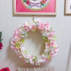 桜/リース/フォロー大歓迎/ハンドメイド/DIY/100均/... 今回は桜🌸リース✨ もうすぐ受験の息子の…