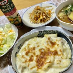 山本ゆりさんレシピ/マカロニグラタン/レンチン/おうちごはん/ランチ/簡単/... もぉ〜びっくり。 小麦粉炒めて牛乳入れて…