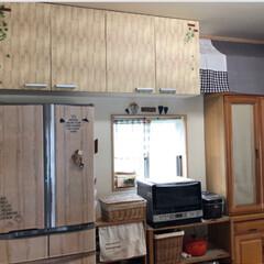 食器棚/ナチュラルインテリア/マグネット/簡単リメイク/リメイクシート/冷蔵庫リメイク/... 冷蔵庫にリメイクシート貼ってます。 引き…(3枚目)
