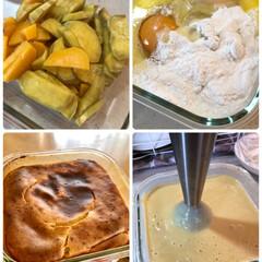 耐熱皿1つで/アラジントースター/アラジン/安納芋/シルクスイート/簡単おやつ/... さつまいもケーキ焼いたよ🍠 耐熱皿の中で…