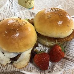 ホームベーカリー/ハンバーガーバンズ/ハンバーガー/バンズ/つぶらなミカン/キッチン雑貨/... 今日のランチ🍔 バンズ焼いてハンバーガー…