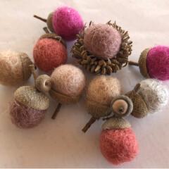 ハンドメイド雑貨/どんぐり/ウールボール/キャンドゥ/100均/雑貨/... キャンドゥのウールボール、 この色が可愛…