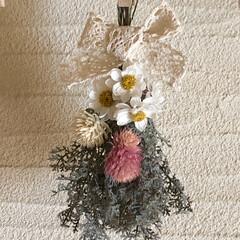 千日紅/ドライフラワー/スワッグ/シルバーレース/花かんざしのドライ/花かんざし/... 花かんざしのドライフラワーを、 スワッグ…