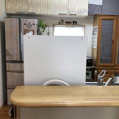 キッチンカウンター/ガーランド/うちにある物/ハンドメイド雑貨/すのこDIY/すのこ/... リビングから丸見えの食洗機の目隠し❣️ …(5枚目)