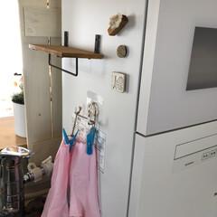 キッチンカウンター/ガーランド/うちにある物/ハンドメイド雑貨/すのこDIY/すのこ/... リビングから丸見えの食洗機の目隠し❣️ …(3枚目)