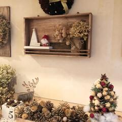 クリスマス雑貨/リース/ハギレリース/松ぼっくり/松ぼっくりツリー/ハンドメイド雑貨/... 玄関を少しだけクリスマス🎄に。 木箱に松…