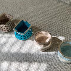 編み物/がま口ポーチ/がまぐち財布/がまぐち/かぎ針編み/セリア/... 小さながまぐちポーチ作りました 𖤣𓂃𓈒𖥧…(2枚目)
