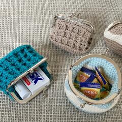 編み物/がま口ポーチ/がまぐち財布/がまぐち/かぎ針編み/セリア/... 小さながまぐちポーチ作りました 𖤣𓂃𓈒𖥧…(3枚目)