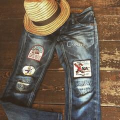 アンティークワッペン/ファッション/ジーンズ/リメイク/雑貨/わたしの手作り 古い破れたジーンズは自分でリメイク(๑•…