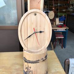 手作り時計/ハンドメイド/DIY 集成竹の鍋敷きを加工して時計キットを取り…