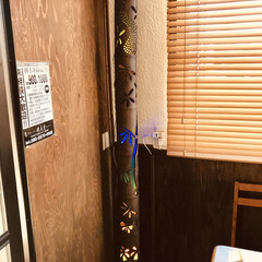 竹行灯/オブジェ/手作り/雑貨/インテリア 健美堂らーめん屋さんに納品設置した 孟宗…