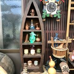 古民具/雑貨/インテリア/収納 舟形飾り棚を設置した