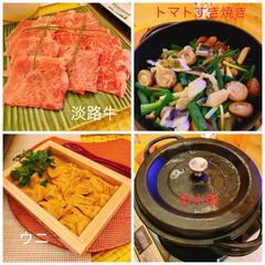 わんこ旅/美味しい/無水鍋/淡路産/うに/トマトすき焼き/... 家族旅行夜ご飯メイントマトすき焼きウニの…