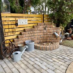 ガーデン雑貨/ガーデニング雑貨/ガーデニング/雑貨好き/立水栓/車輪オブジェ/... 先日 庭にラティスフェンスを設置しました…
