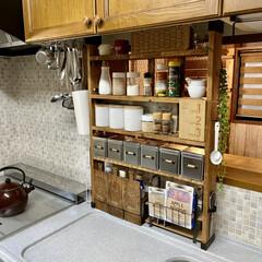 キッチン収納/ラブリコ/調味料ラックDIY/DIY/棚/キッチン/... キッチン側とダイニング側の両方から調味料…(1枚目)
