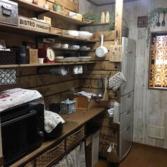 雑貨好き/キッチン背面収納/DIY/キッチン/キッチン雑貨/雑貨/... キッチン背面収納 ♪ 20年以上使ってい…