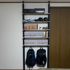 本棚DIY/ラブリコアイアン/本収納/漫画収納/コミック収納/漫画コレクション/... ノコギリをギコギコやり始めた旦那さ…