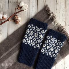 knittinglove/knitting/knit/毛糸/冬支度小物/冬支度/... 寒くなってきたので 指なしミトン出しまし…