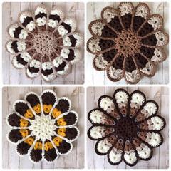 お花の円座/円座/編み物大好き/Handmade/かぎ針/編み物/... お花の円座を編みました( › ·̮ ‹ …