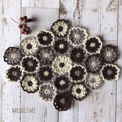 かご/編み物/かぎ針編み/お花のモチーフ/ハンドメイド/knittinglove/...