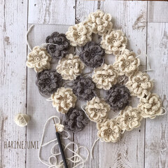 暮らし/かぎ針編み/かぎ針/knittinglove/ハンドメイド/お花のモチーフ/... なかなか進まない… でも…頑張ります(˶…