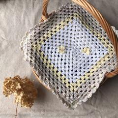 かご/目隠し/Handmade/ハンドメイド/かぎ針/かぎ針編み/... ちょうちょがポイントのかごカバー⚮̈ …