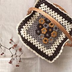 カゴカバー/knitting/knit/Handmade/お花/モリーの花/...