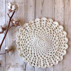 冬支度/毛糸/knitting/knit/かごカバー/円形/... 丸いカバーもシンプルで 使いやすいと思い…