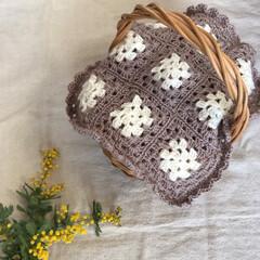 knitting/knit/インテリア/interior/手仕事/Handmade/... 久しぶりにモチーフ編みのかごカバーを …