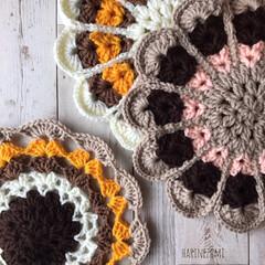 knittinglove/knitting/knit/今月編みます/アクリル毛糸/おざぶ/... お花の円座❁✿✾  ✾✿❁︎ 今月沢山編…