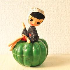 昭和レトロ/簡単リメイク/カゴ/DIY/雑貨/レトロ/... 100えんで買ったレトロなお人形さん。(…
