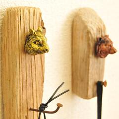 玄関インテリア/玄関/壁かけフック/壁掛けフック/ゴミDIY/ゴミ/...  ゴミDIY第2弾!  拾った流木とサビ…