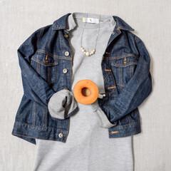 コーディネート/ティータイム/ファッション/おでかけワンショット 今日のスタイル。 この季節はデニムジャケ…