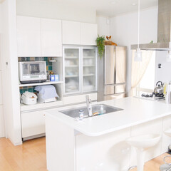 タカラスタンダード/キッチン/LIMIAインテリア部/キッチン雑貨/暮らし/住まい/... キッチン。 ホワイトで統一したタカラスタ…