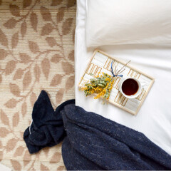 アジアン/ホテルライク/寝室/ベッドルーム/ベッド/ニトリ/... ベッドルームからこんにちは🙋♀️ 春分…