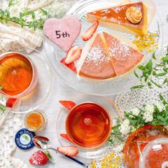 ティータイム/花のある暮らし/紅茶/LIMIAごはんクラブ/わたしのごはん/わたしのお気に入り 年度末お疲れ様ー!ってことでお祝いのケー…