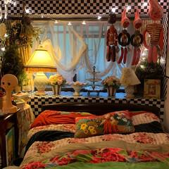 スワッグ/出窓インテリア/ベッドルーム/雑貨/暮らし 私のベッドルーム。 マイブームのドライフ…