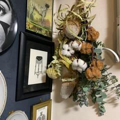コットンフラワー/バンクシア/手作りスワッグ/暮らし/リビングあるある こんばんは〜。😊 今年は良くお花を買って…