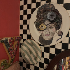 Re壁/セルフペイントの壁/アートのある暮らし/アート/LIMIAインテリア部/DIY/... こちらはアメリをイメージしてお部屋作りを…